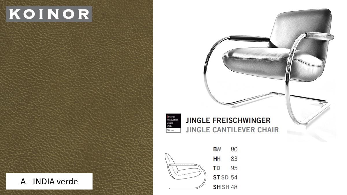 KOINOR JINGLE Freischwinger - Sessel im Leder-Bezug A - INDIA verde