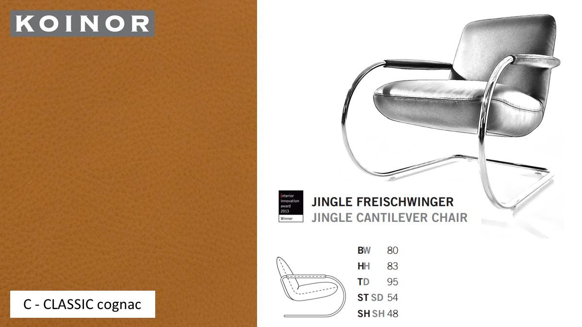 KOINOR JINGLE Freischwinger - Sessel im Leder-Bezug C - CLASSIC cognac