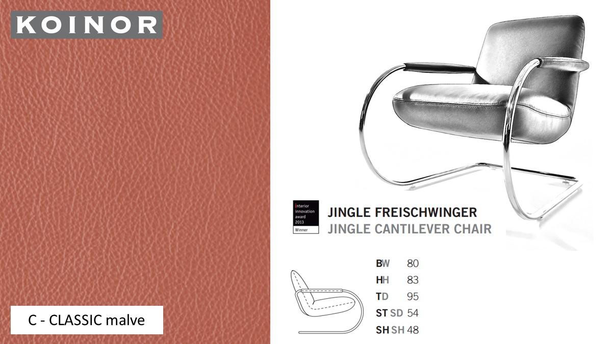 KOINOR JINGLE Freischwinger - Sessel im Leder-Bezug C - CLASSIC malve