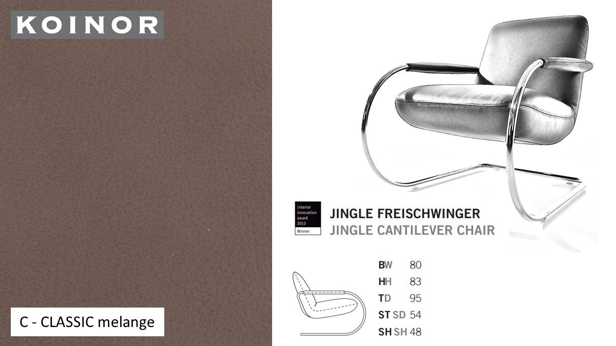 KOINOR JINGLE Freischwinger - Sessel im Leder-Bezug C - CLASSIC melange