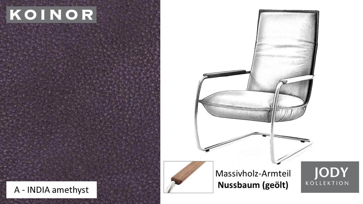 KOINOR JODY Freischwinger - Sessel im Leder-Bezug A - INDIA amethyst
