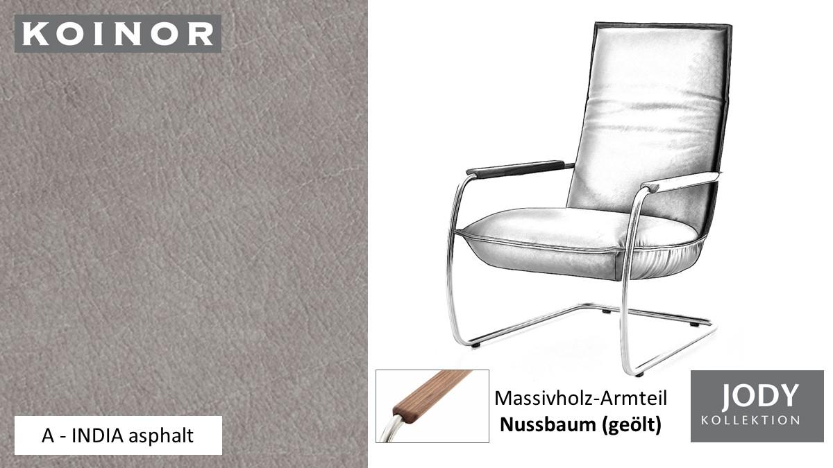 KOINOR JODY Freischwinger - Sessel im Leder-Bezug A - INDIA asphalt