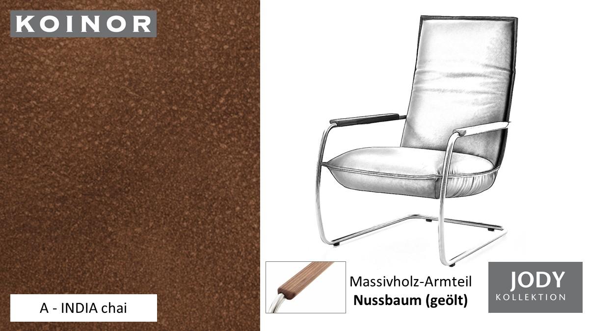 KOINOR JODY Freischwinger - Sessel im Leder-Bezug A - INDIA chai