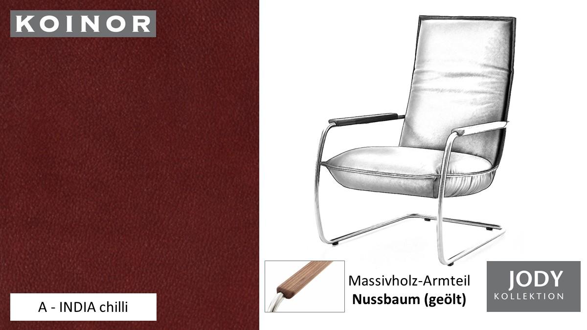 KOINOR JODY Freischwinger - Sessel im Leder-Bezug A - INDIA chilli