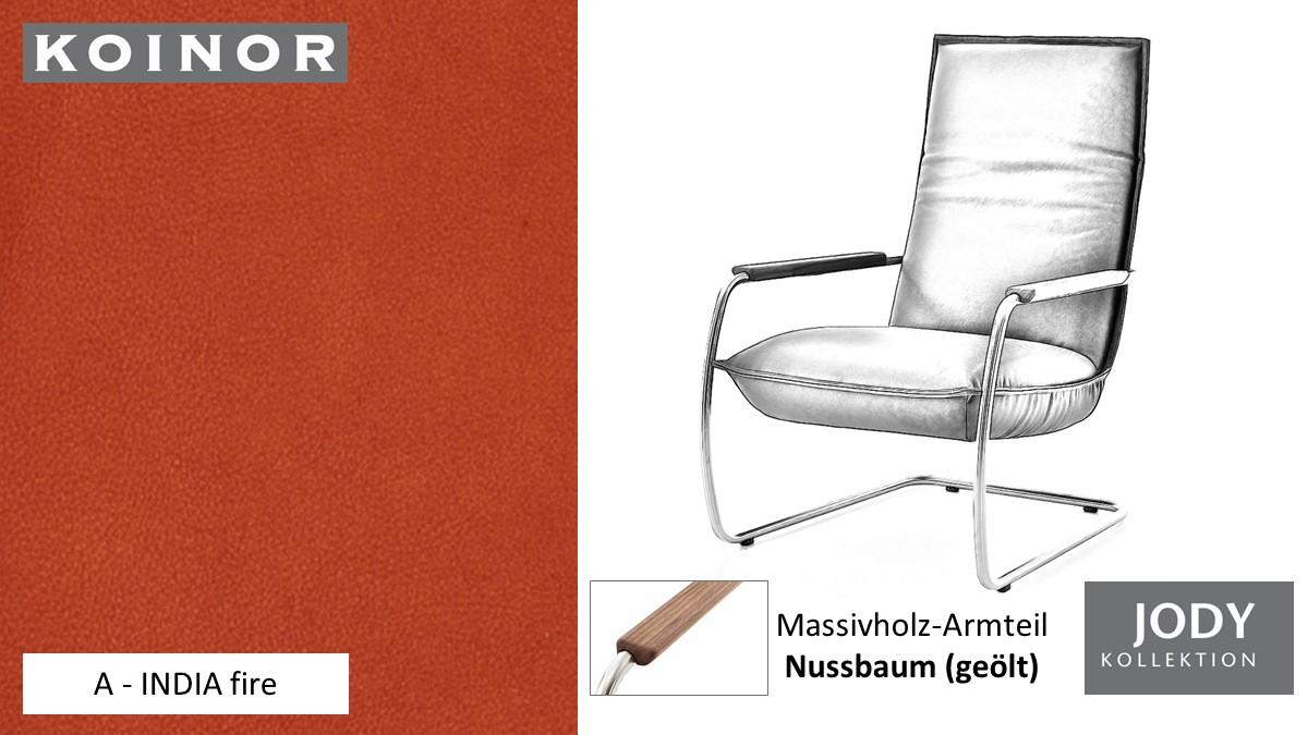 KOINOR JODY Freischwinger - Sessel im Leder-Bezug A - INDIA fire