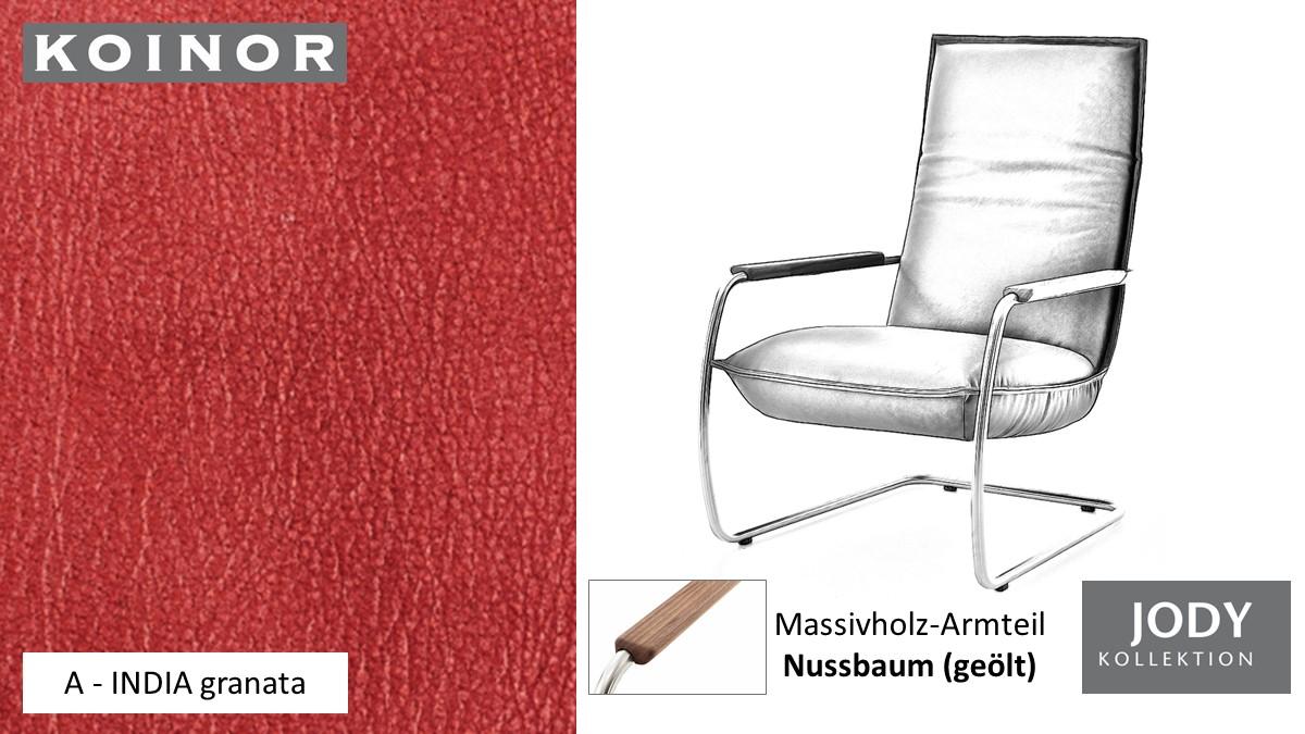 KOINOR JODY Freischwinger - Sessel im Leder-Bezug A - INDIA granata