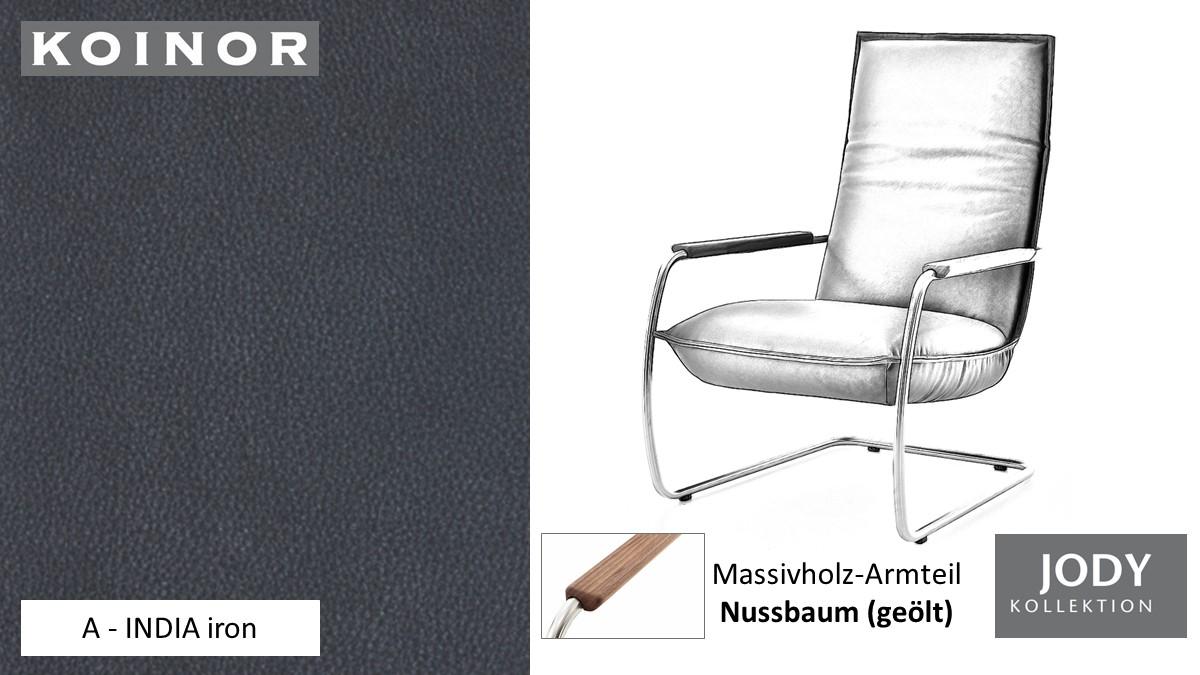 KOINOR JODY Freischwinger - Sessel im Leder-Bezug A - INDIA iron