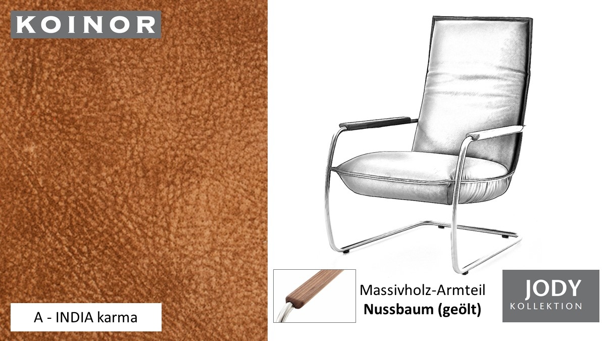 KOINOR JODY Freischwinger - Sessel im Leder-Bezug A - INDIA karma
