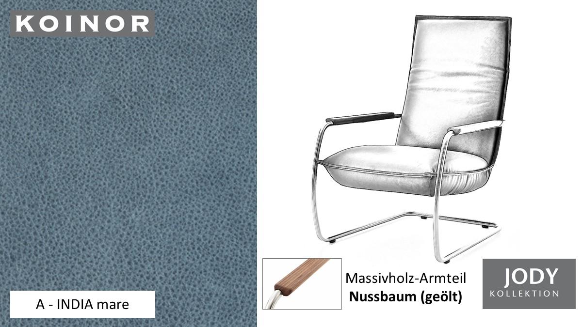 KOINOR JODY Freischwinger - Sessel im Leder-Bezug A - INDIA mare