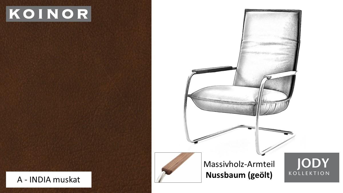 KOINOR JODY Freischwinger - Sessel im Leder-Bezug A - INDIA muskat