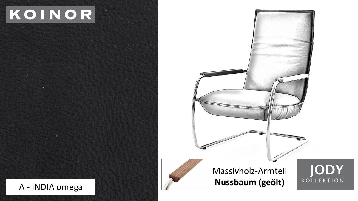 KOINOR JODY Freischwinger - Sessel im Leder-Bezug A - INDIA omega