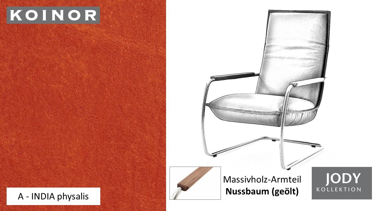 KOINOR JODY Freischwinger - Sessel im Leder-Bezug A - INDIA physalis
