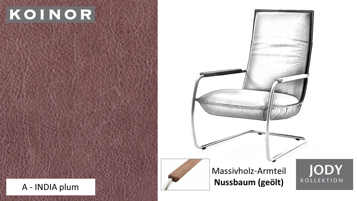 KOINOR JODY Freischwinger - Sessel im Leder-Bezug A - INDIA plum
