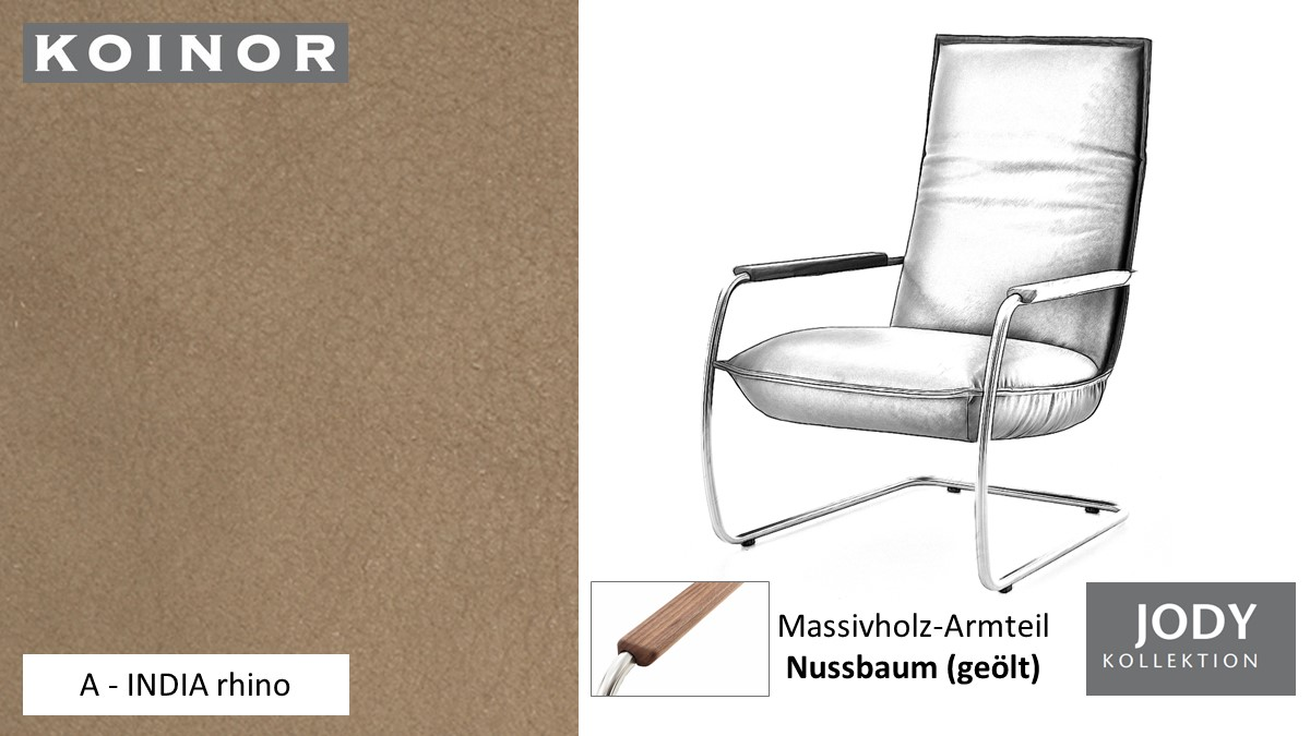 KOINOR JODY Freischwinger - Sessel im Leder-Bezug A - INDIA rhino