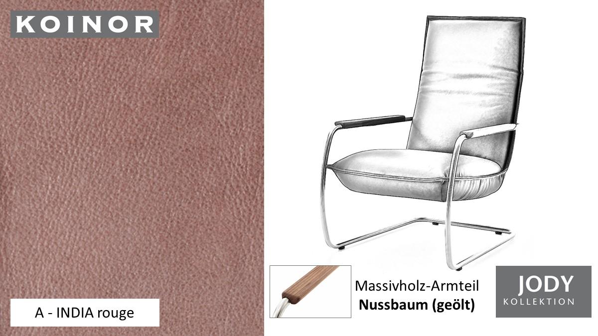 KOINOR JODY Freischwinger - Sessel im Leder-Bezug A - INDIA rouge