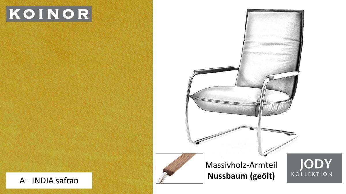 KOINOR JODY Freischwinger - Sessel im Leder-Bezug A - INDIA safran