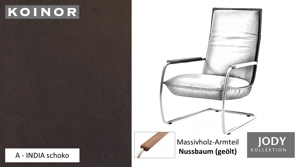 KOINOR JODY Freischwinger - Sessel im Leder-Bezug A - INDIA schoko