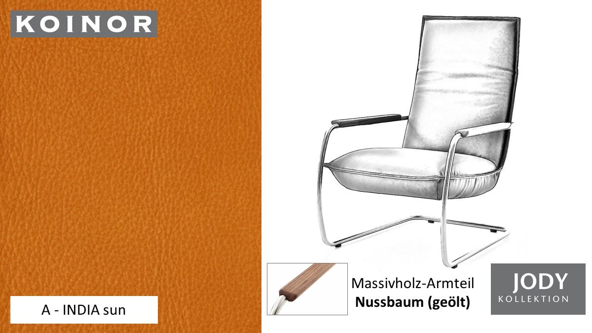 KOINOR JODY Freischwinger - Sessel im Leder-Bezug A - INDIA sun