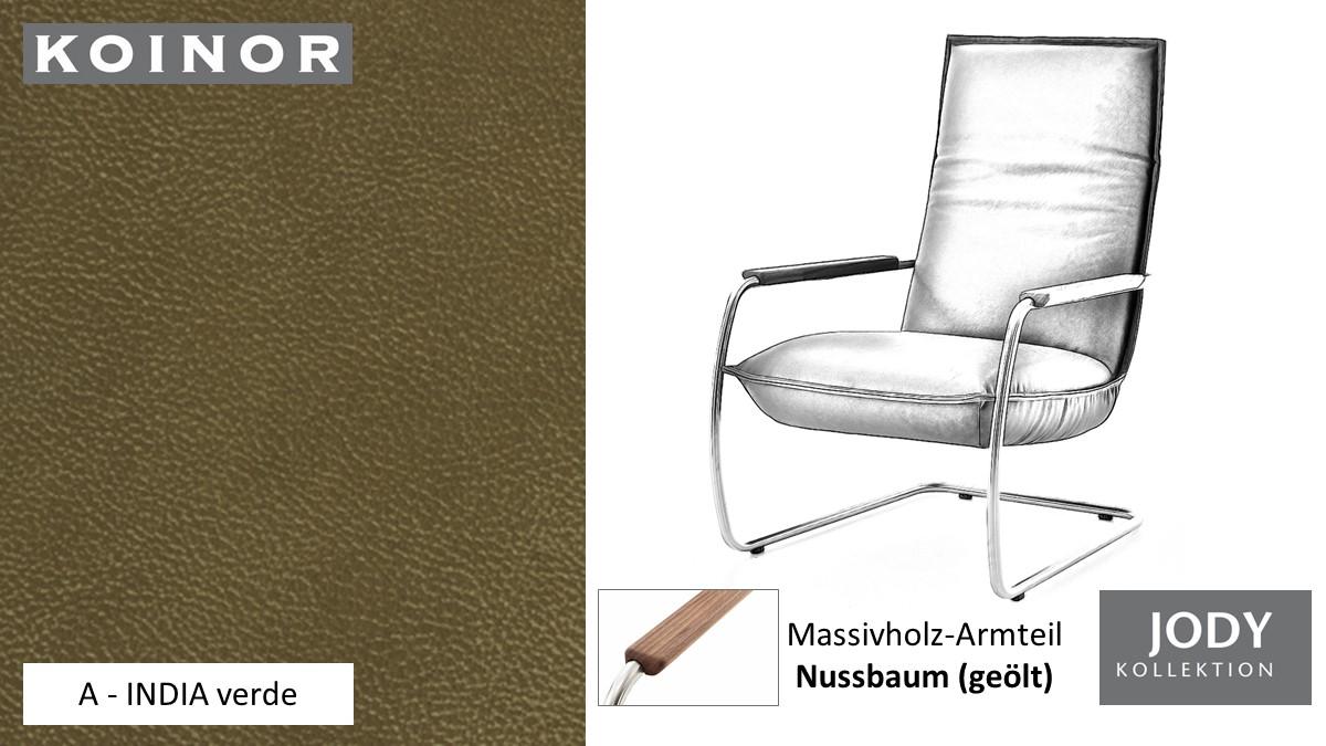 KOINOR JODY Freischwinger - Sessel im Leder-Bezug A - INDIA verde