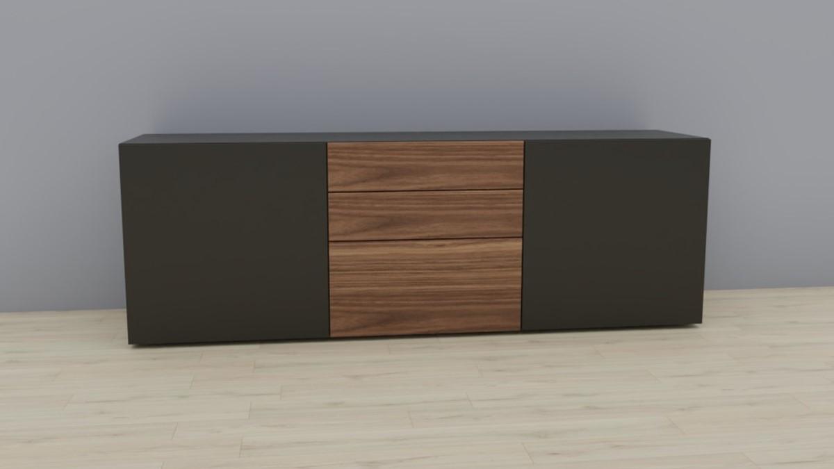 NOW! VISION Sideboard #1421 - Lack-grau, Akzent Kernnussbaum