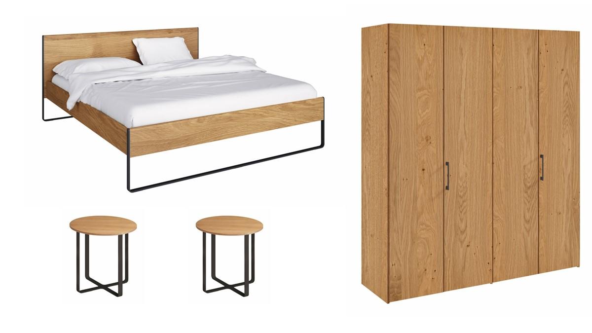 hülsta NEO Set - Bett, Kleiderschrank 4türig & 2 Konsolen