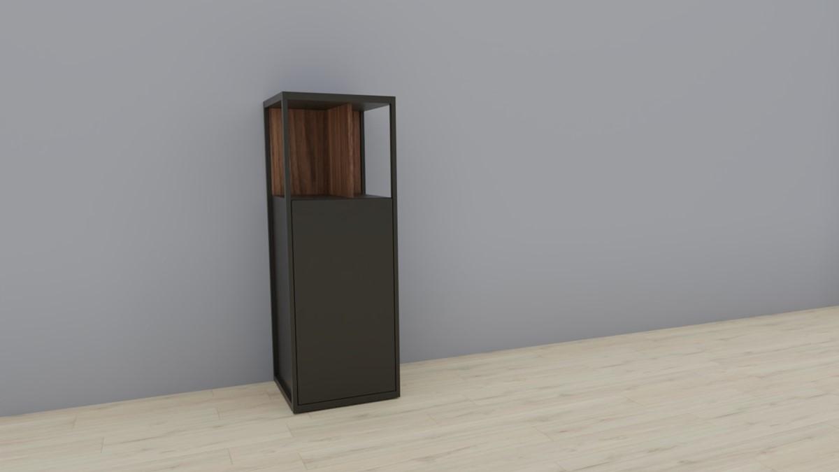 hülsta NOW! VISION Einzelmöbel 6 R #16141 - Front Lack-Hochglanz-grau, Akzent Kernnussbaum