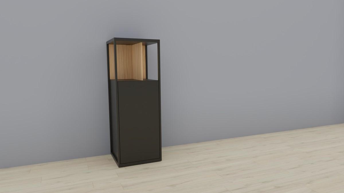 hülsta NOW! VISION Einzelmöbel 6 R #16141 - Front Lack-Hochglanz-grau, Akzent Natureiche