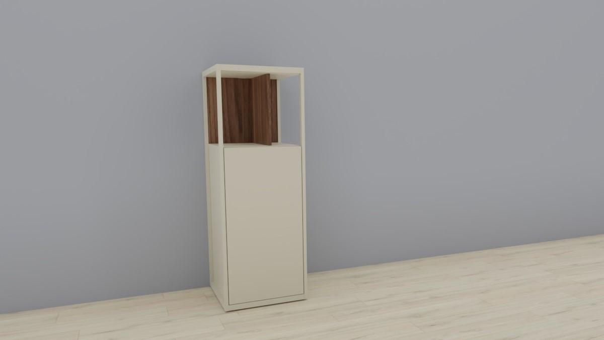 hülsta NOW! VISION Einzelmöbel 6 R #16141 - Front Lack-Hochglanz-seidengrau, Akzent Kernnussbaum