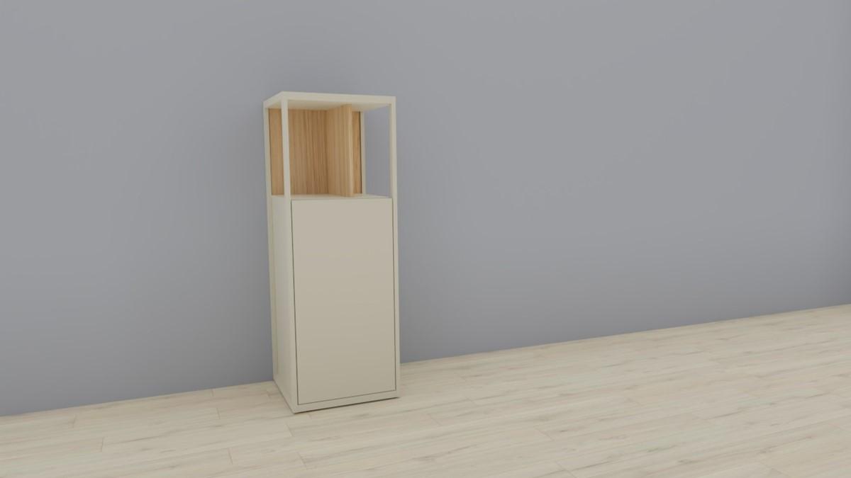 hülsta NOW! VISION Einzelmöbel 6 R #16141 - Front Lack-Hochglanz-seidengrau, Akzent Natureiche
