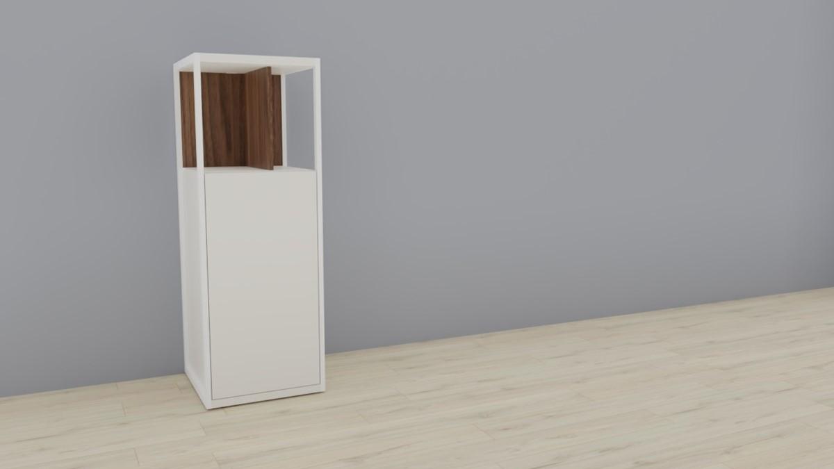 hülsta NOW! VISION Einzelmöbel 6 R #16141 - Front Lack-Hochglanz-weiß, Akzent Kernnussbaum