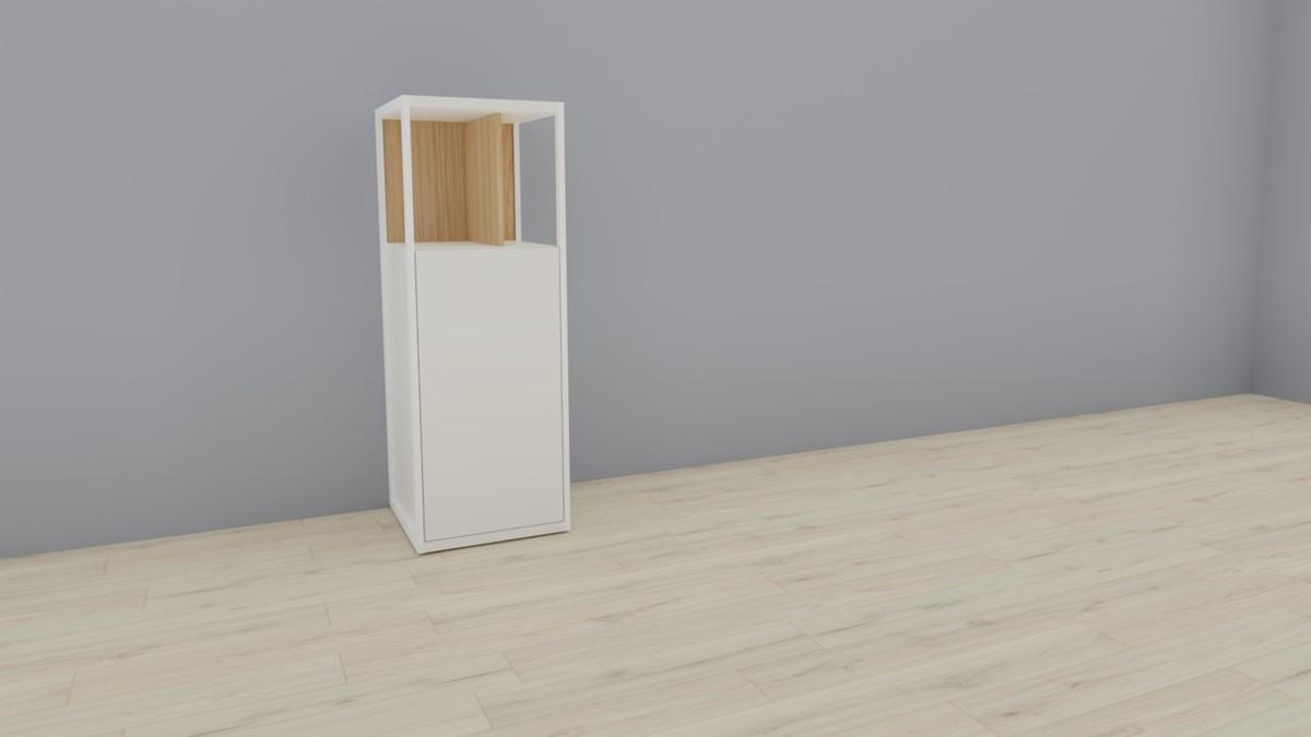 hülsta NOW! VISION Einzelmöbel 6 R #16141 - Front Lack-Hochglanz-weiß, Akzent Natureiche