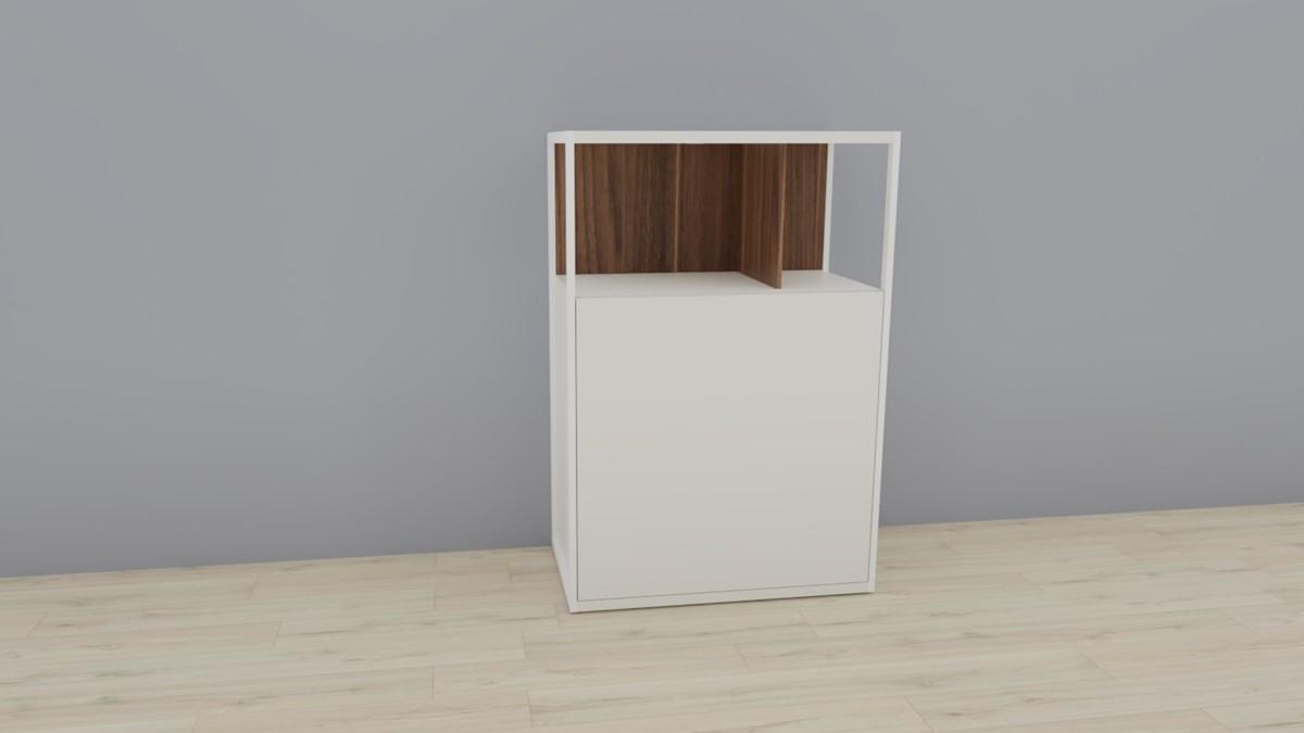 hülsta NOW! VISION Einzelmöbel 6R #16121 Front Lack-weiß, Akzent Kernnussbaum