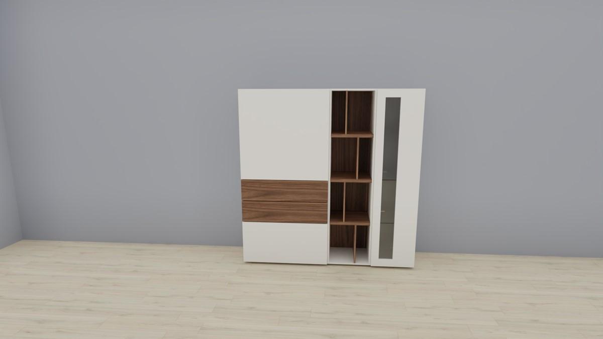 hülsta NOW! VISION Highboard #980011, Lack-Hochglanz-weiß, Akzent Kernnussbaum
