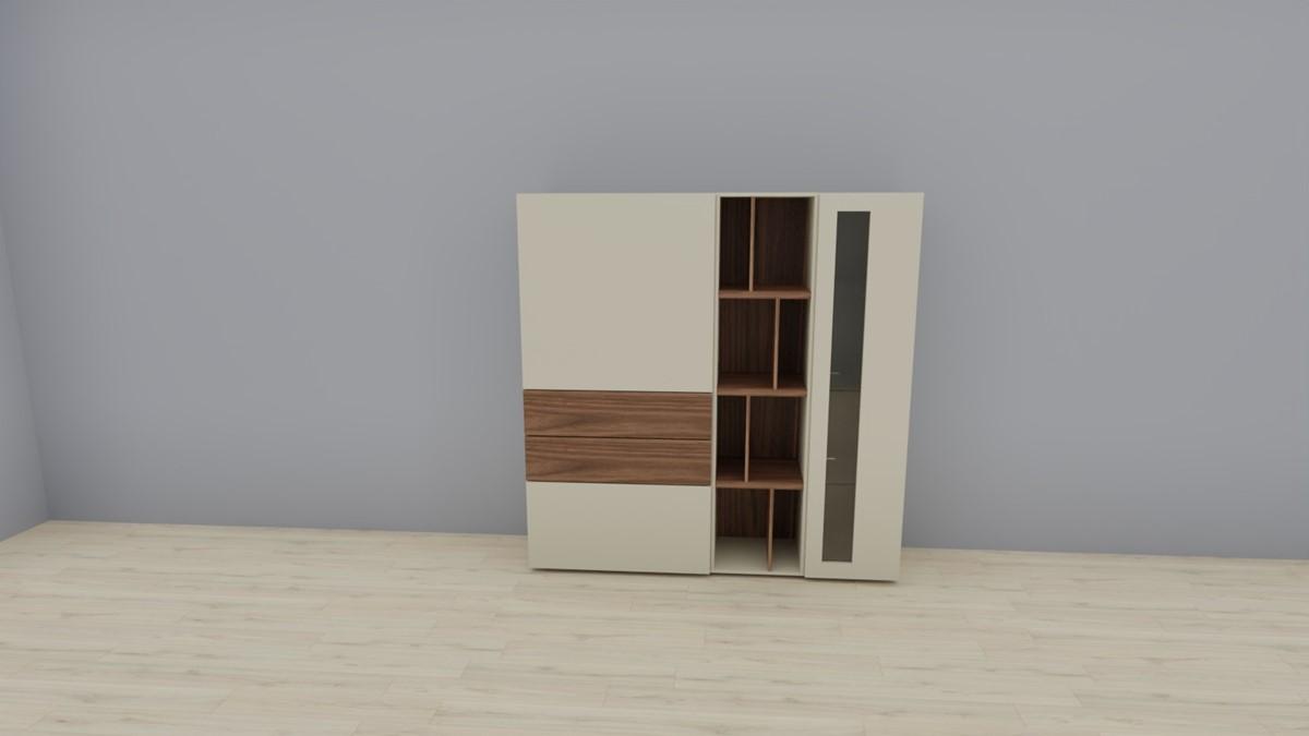 hülsta NOW! VISION Highboard #980011, Lack-seidengrau, Akzent Kernnussbaum