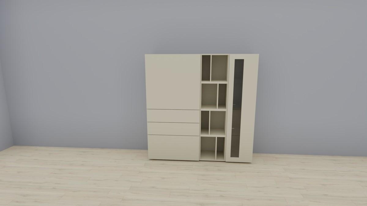 hülsta NOW! VISION Highboard #980011, Lack-seidengrau, OHNE Akzent