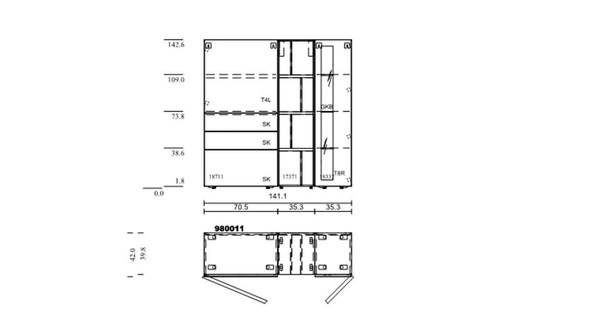 hülsta NOW! VISION Highboard #980011 - technische Zeichnung mit Maßen.