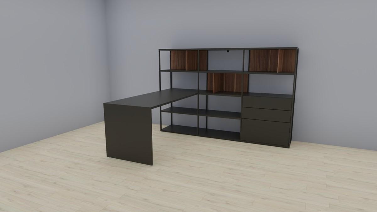hülsta NOW! VISION Home-Office-Kombination Nr.1, Lack-grau, Akzent-Kernnussbaum