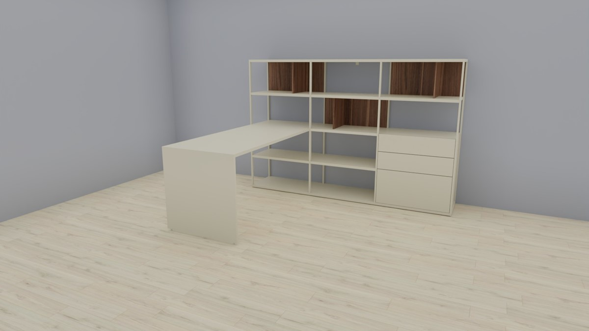hülsta NOW! VISION Home-Office-Kombination Nr.1, Lack-seidengrau, Akzent Kernnussbaum