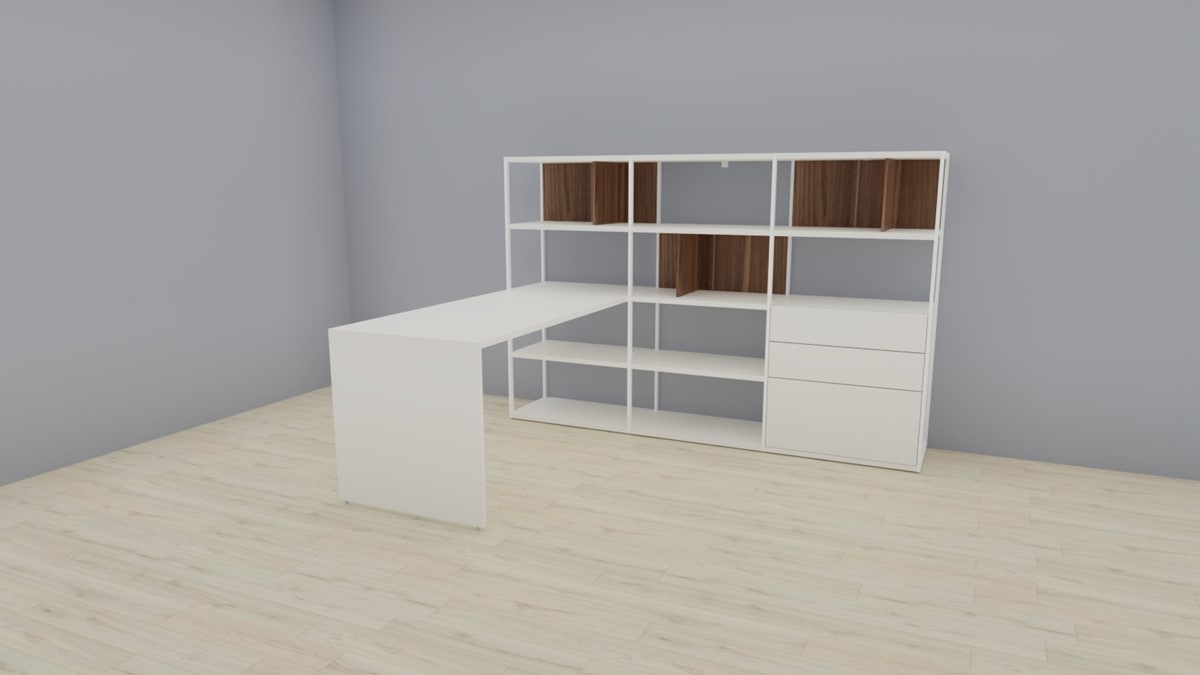 hülsta NOW! VISION Home-Office-Kombination Nr.1, Lack-weiß, Akzent Kernnussbaum