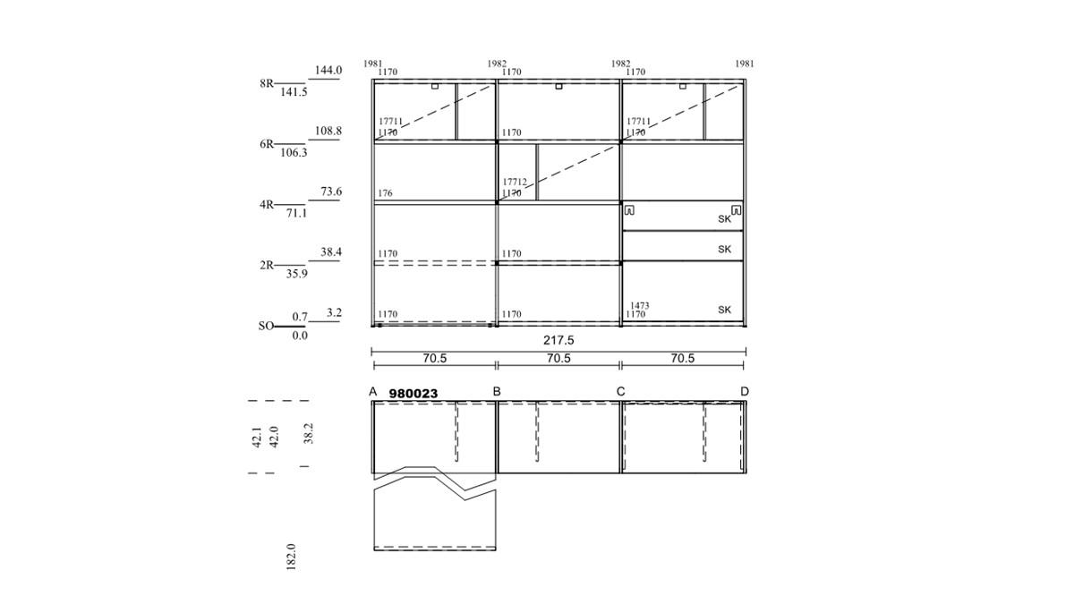 hülsta NOW! VISION Home-Office-Kombination Nr.1 - technische Zeichnung mit Maßen