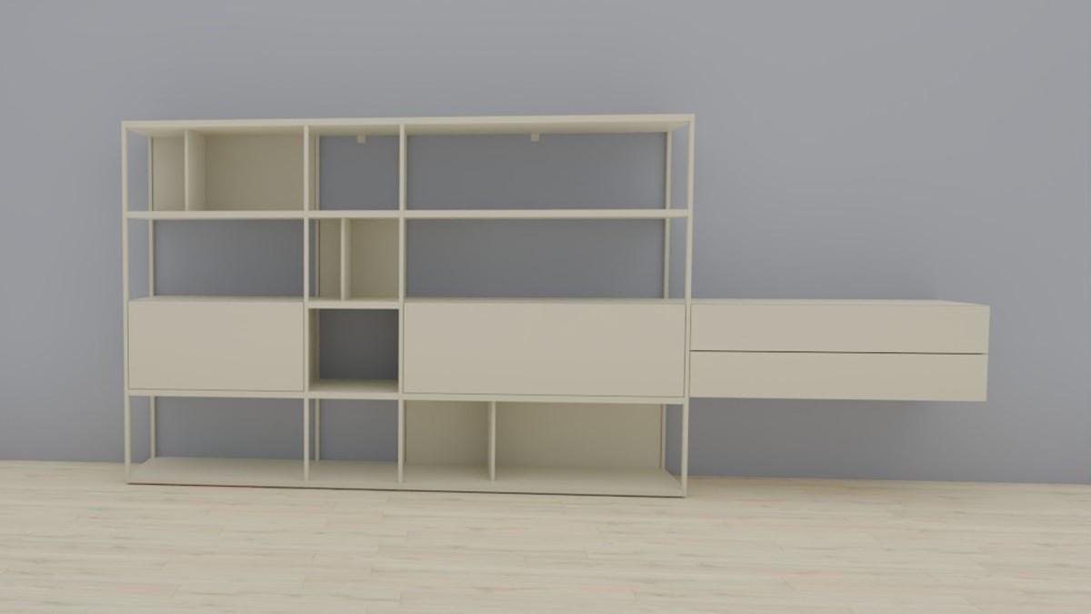 hülsta NOW! VISION Regalwand #980010, Lack-Fronten in Lack-Hochglanz-seidengrau, OHNE Akzent
