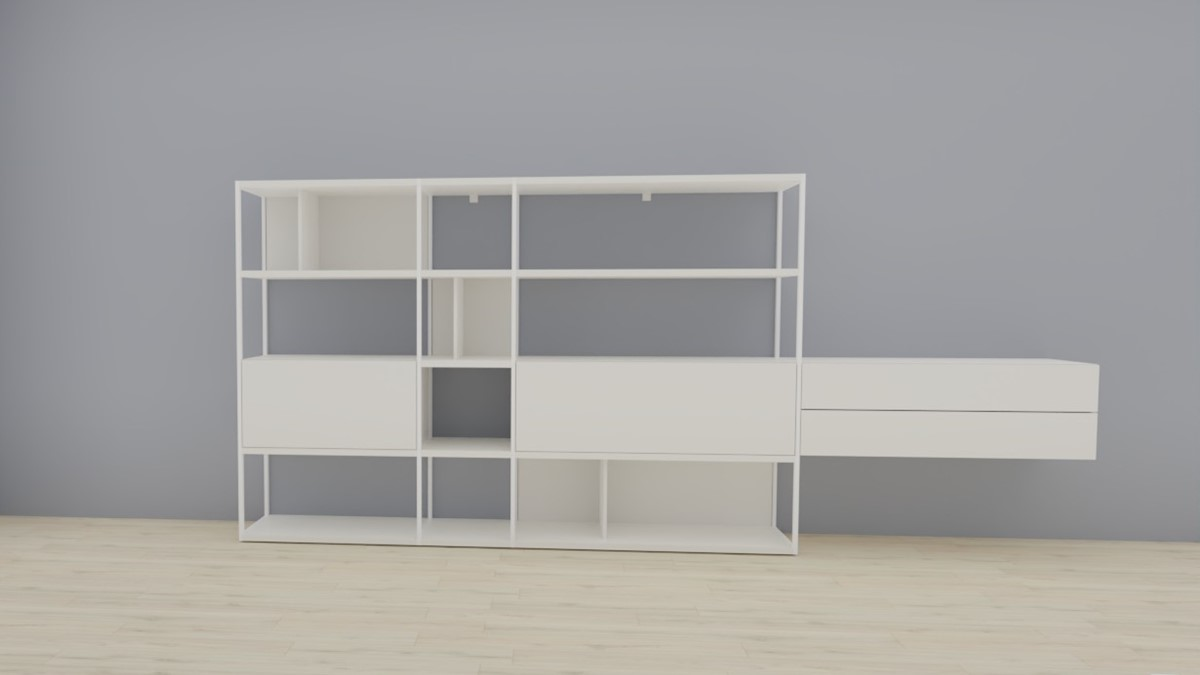 hülsta NOW! VISION Regalwand #980010, Lack-Fronten in Lack-Hochglanz-weiß, OHNE Akzent