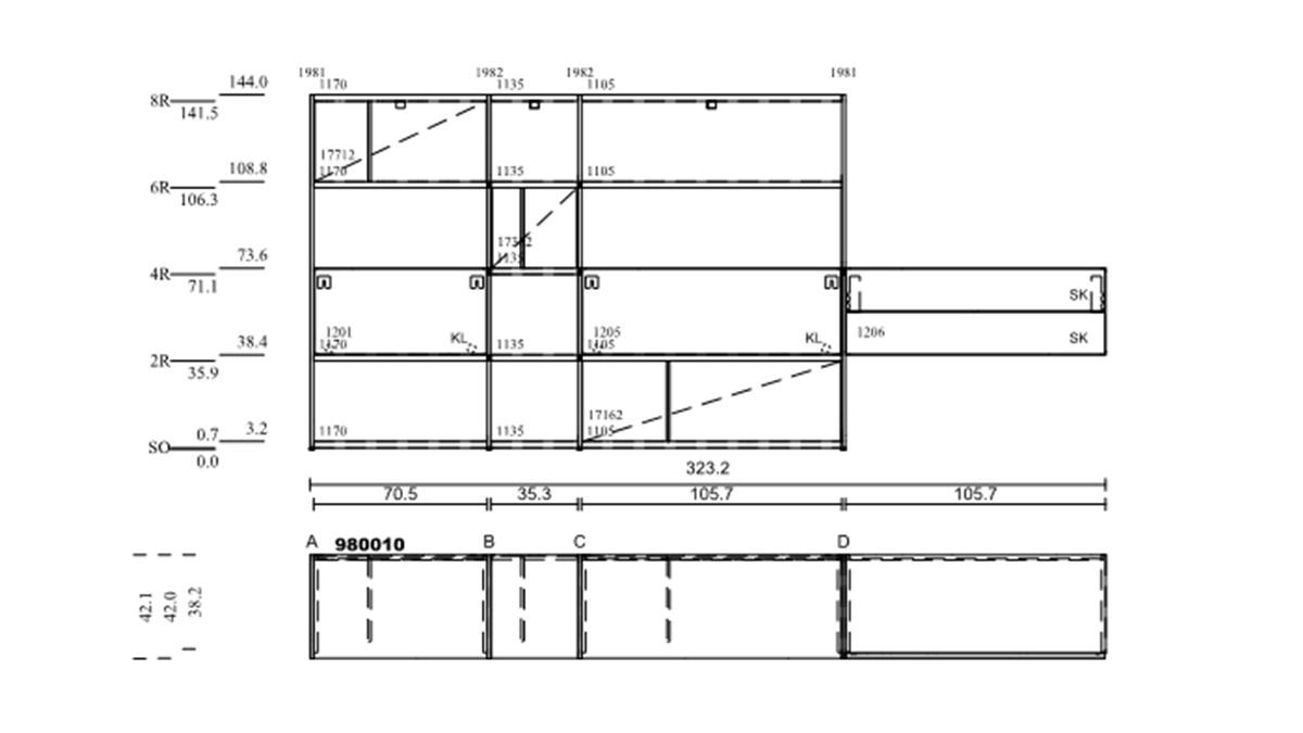 hülsta NOW! VISION Regalwand #980010 - technische Zeichnung mit Maßen