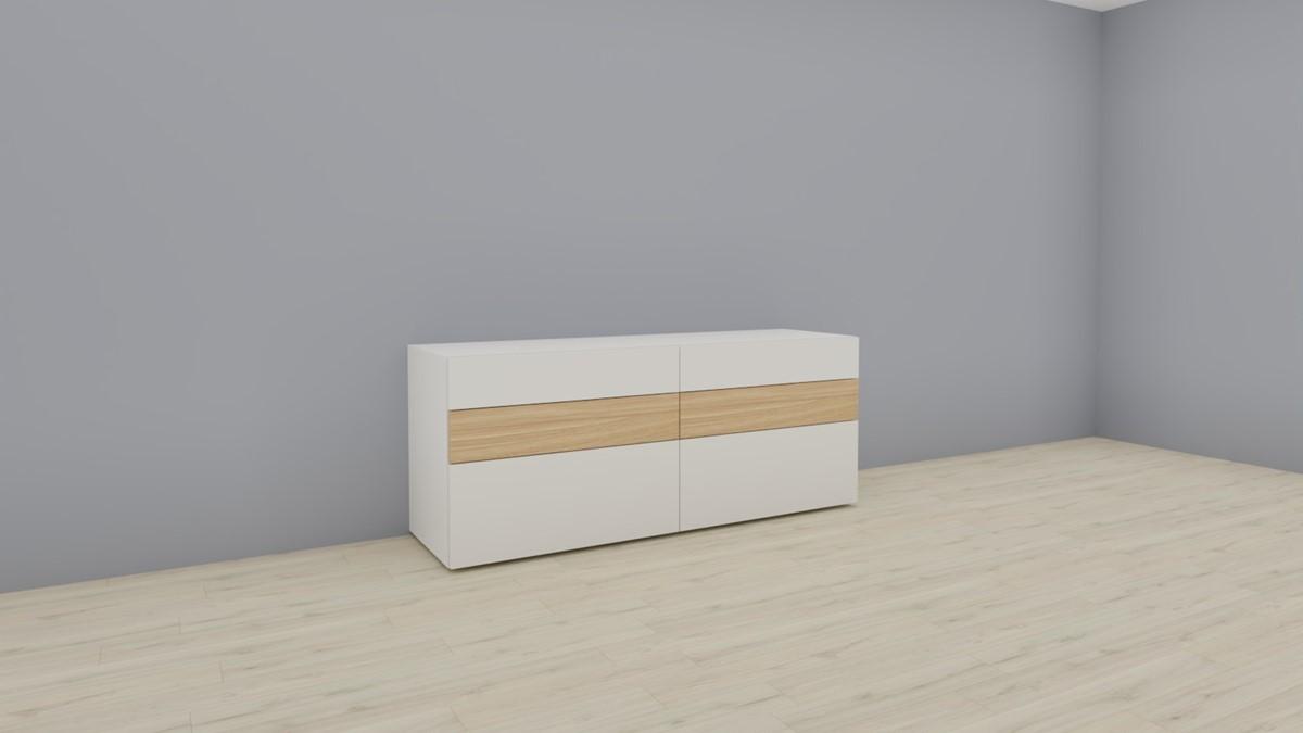 hülsta NOW! VISION Sideboard #1419 - Front Lack-Hochglanz-weiß, Akzent Natureiche