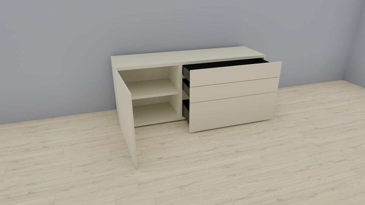 hülsta NOW! VISION Sideboard mit 1 Türe, 3 Schubladen - geöffnete Ansicht