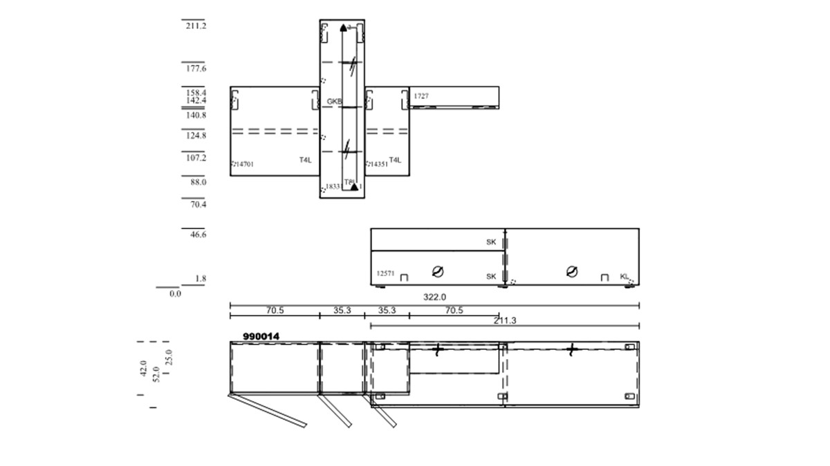 hülsta NOW! VISION Wohnwand #990014 - technische Zeichnung mit Maßen