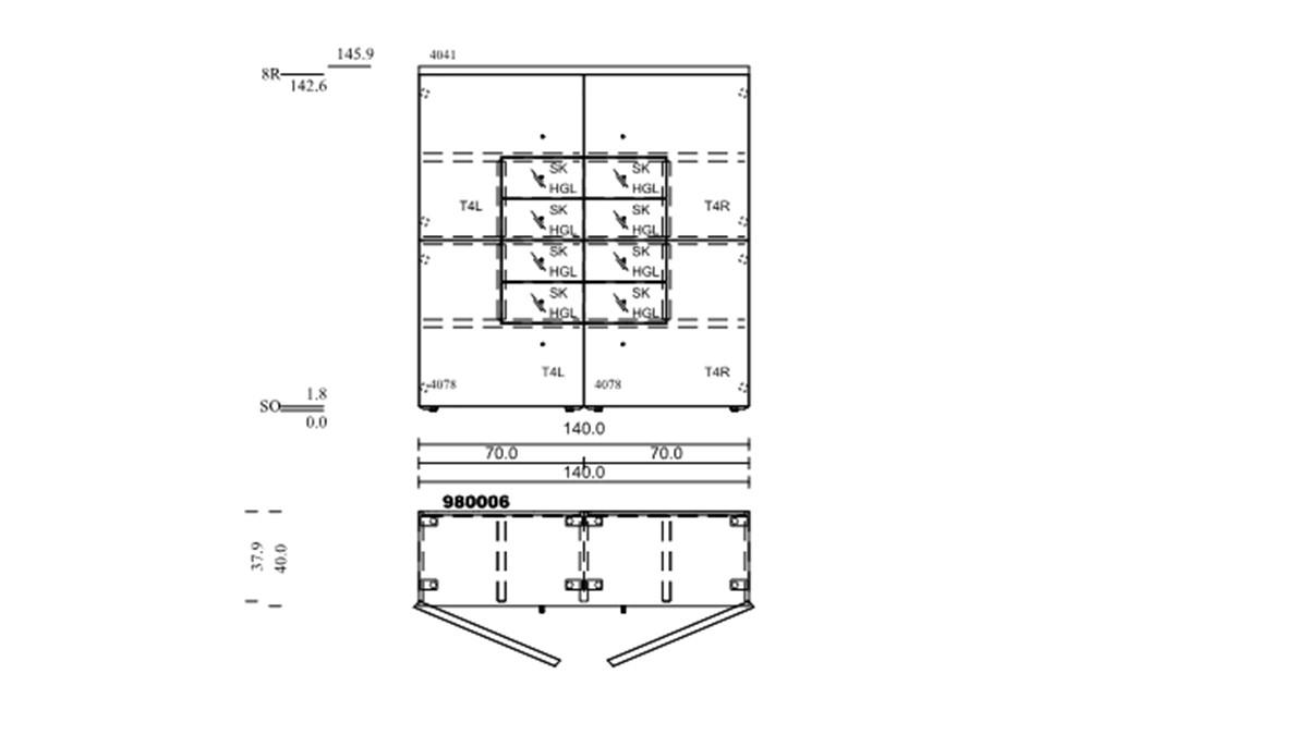 NOW! TIME Vorschlagskombination #980006 - technische Zeichnung mit Maßen