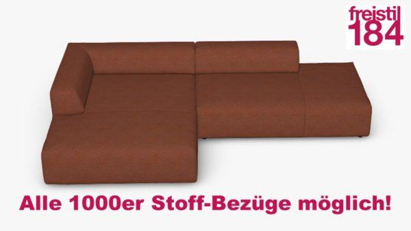 freistil 184 Sofa mit Longchair links in der Breite 288 cm im Stoff-Bezug Aller 1000er Stoff-Bezüge möglich!
