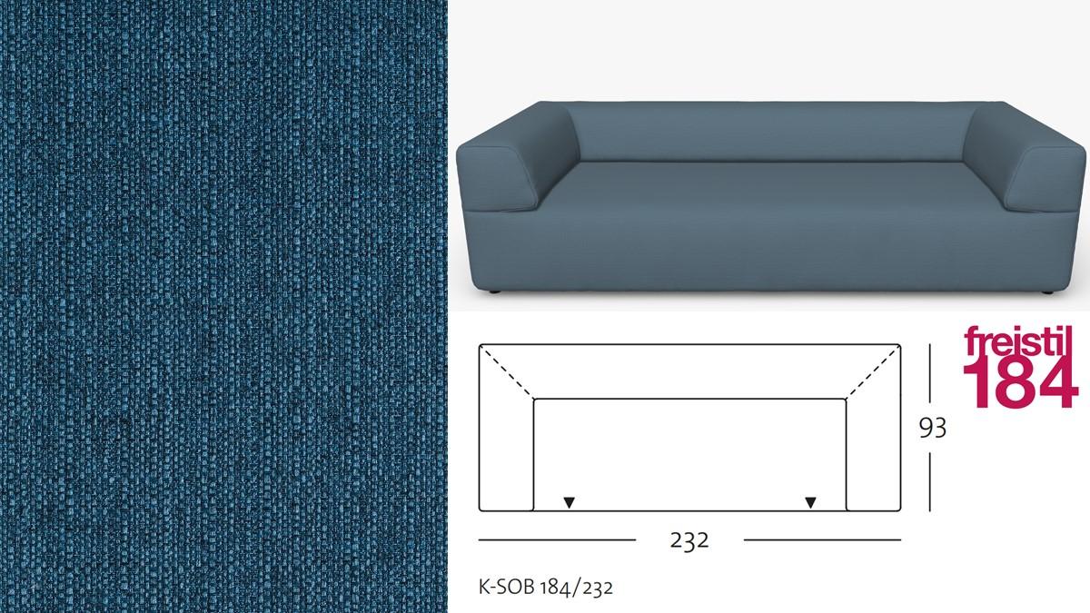 freistil 184 Sofabank im Stoff-Bezug #1030 blau