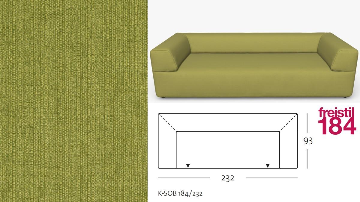 freistil 184 Sofabank im Stoff-Bezug #1032 grün